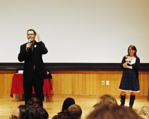 """Marshall Miller and Rachel Dart came to Oberlin to present their sexual education program, """"I Heart Female Orgasm,"""" on Wednesday, Feb. 9."""