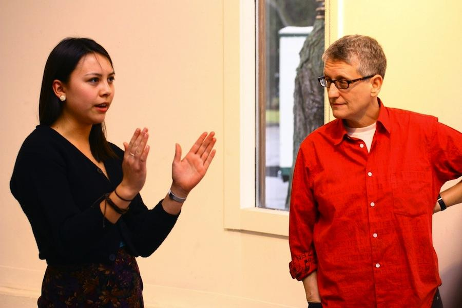Senior Studio member Skylar Sweetman, left, discusses her art with internationally acclaimed artist Roni Horn. Sweetman was one of four artists selected by the Exhibition Initiative to undergo the honor of a critique of her work by Horn.