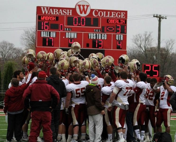 The Yeomen celebrate their historic victory over Number 10 Wabash University this past weekend. Oberlin defeated the Little Giants 31-16 in a classic David and Goliath upset.