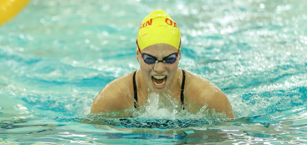 Sophomore+Mia+Wallace+competes+in+the+200-yard+medley+relay.+The+women%E2%80%99s+swimming+and+diving+team+took+first+at+the+Blue+Devil+Invite+hosted+by+SUNY+Fredonia+last+weekend.%0A