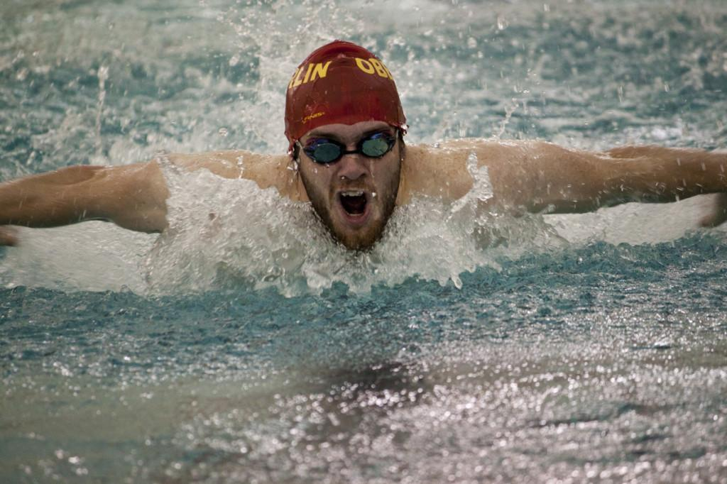 Luke Harrison swims the 200-yard butterfly last weekend. The swimming and diving team started their season 2–0.