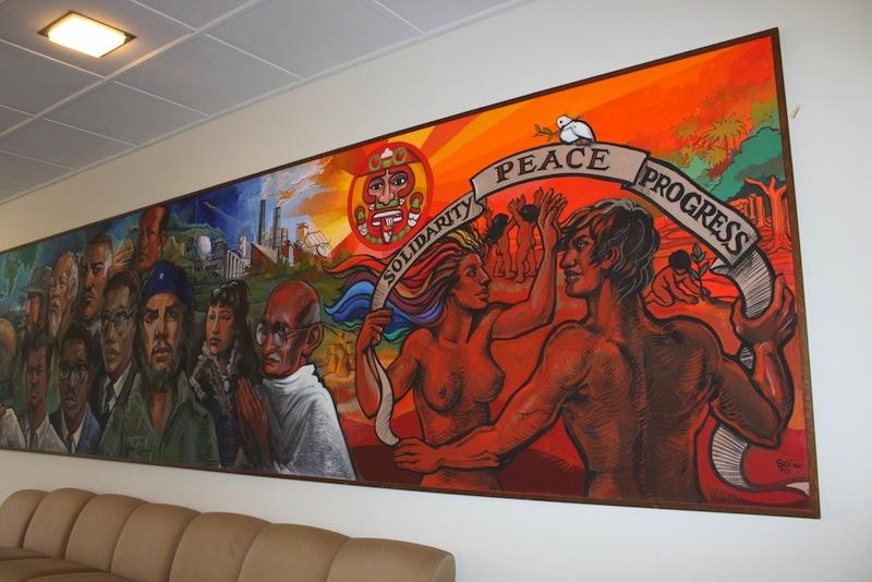 The Solidarity, Peace and Progress mural in Third World House depicts figures and activists from around the world. Third World House hosted a 30th-anniversary celebration of the mural, which was painted by Maria del Pilar OCadiz, OC 86, with her father, on Friday.
