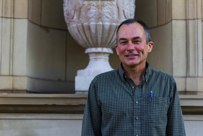 Michael Reynolds, preparator at the Allen Memorial Art Museum, who spoke Sunday on his experiences hiking the Pacific Crest Trail.