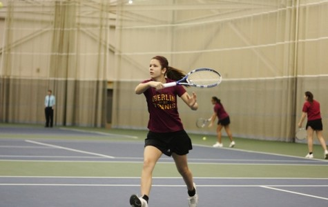 Ariel Lewis shows off her backhand in a match against Baldwin-Wallace College.