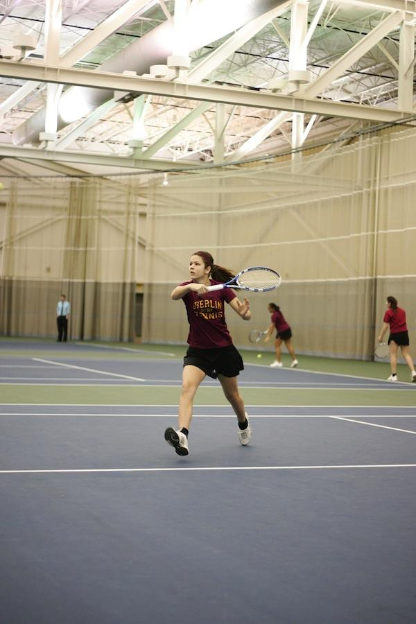 Ariel+Lewis+shows+off+her+backhand+in+a+match+against+Baldwin-Wallace+College.