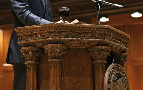 Former Washington D.C. mayor and visiting professor Adrian Fenty addresses a crowd at Finney Chapel in the first convocation of the school year.