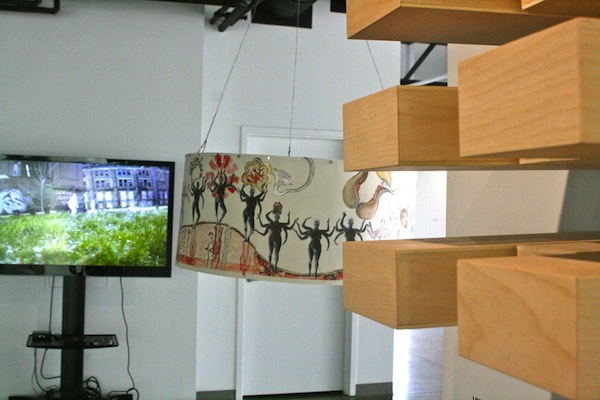 A corner of the Exhibition Initiatives installation in Baron Gallery shows the diversity of media and creativity of form.