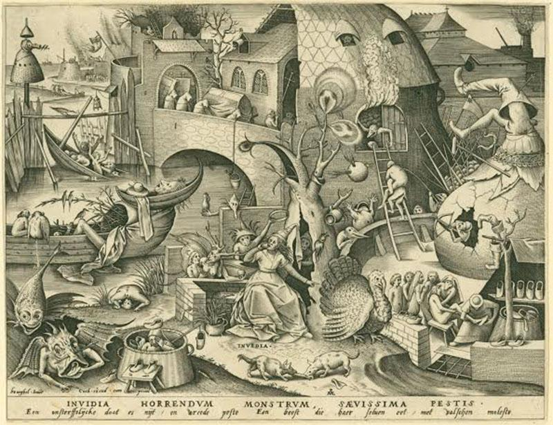 Invidia (Envy) Personified by Pieter van der Heyden and Pieter Bruegel the Elder is one of the prints featured at the Between Fact and Fantasy: The Artistic Imagination in Print exhibit. The collection, on display in the Ripin Print Gallery in the Allen, explores how artists visually interpret the world of the imagination.