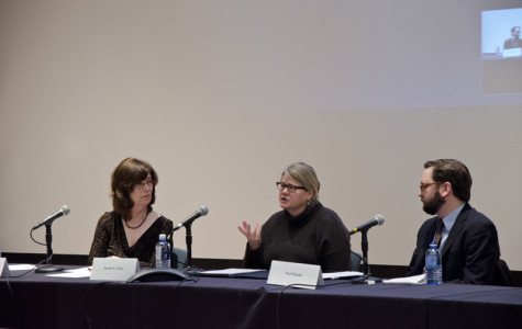 Panelists Joyce Babyak, Sarah W. Peck and Paul Bugala discuss and debate the pros and cons of the College's possible financial divestment from Israel. The Divestment Symposium, which was held on Sunday morning in the Dye Lecture Hall, featured two sets of panelists in two 90-minute sections.