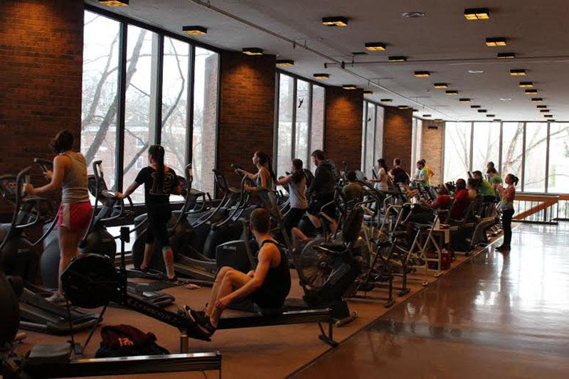 Students+and+community+members+utilize+the+equipment+on+the+second+floor+of+Philips+gym.+The+new+gym%2C+which+is+located+in+the+basement+of+South+Hall%2C+will+open+this+Saturday.