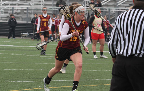 Junior midfielder Kate Hanick sprints down the field against Otterbein University. Hanick has scored three goals and added one assist in the Yeowomen's first two games.