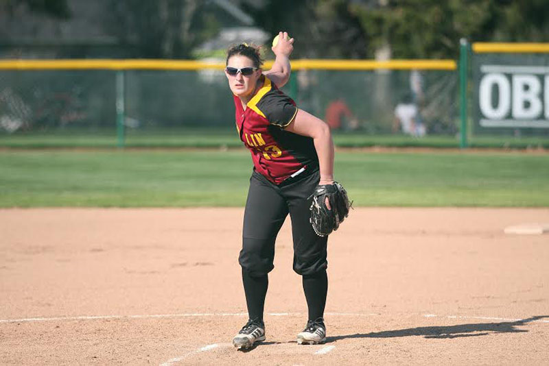 Junior Katie Pieplow winds up for a pitch in a game last season. Pieplow was named NCAC Player of the Week after she recorded seven RBIs and three hits in a game against the Maryville College Scots.