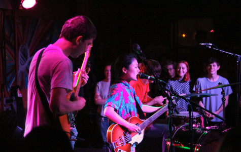 Guitarist John Dieterich (left), bassist and vocalist Satomi Matsuazki and drummer Greg Saunier, OC '91, lived up to the hype surrounding Deerhoof's live shows on Tuesday. Performing to a nearly sold-out 'Sco, the band showcased a range of genres from jazz to indie rock.
