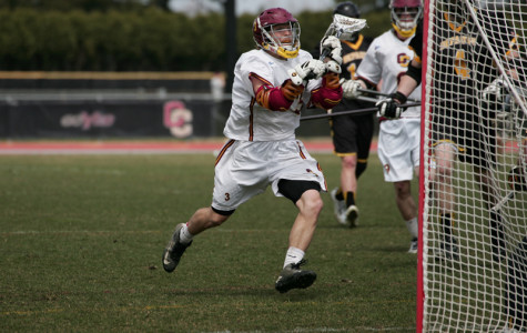 Senior Connor Jackson streaks towards the goal on Senior Day against DePauw University. The team finished the season with a record of 8–6 overall and 3–4 in the conference.