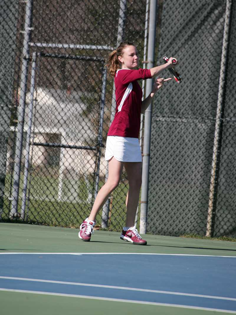 Junior Grace Porter prepares to hit the ball in a recent match at home. Her strong play has helped the Yeowomen to seven straight victories.