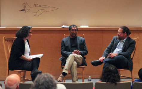 From left: Associate Professor of English Gillian Johns, writer Percival Everett and Delaney Associate Professor of Creative Writing Dan Chaon discuss Everett's work and philosophy at a Monday night Q&A with Everett moderatored by Johns and Chaon. Everett, author of over 20 novels, spent two days on campus and also gave a lecture on Ralph Ellison's Invisible Man the following night.