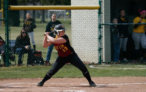 Junior Katie Pieplow eyes a pitch during a home double-header against the DePauw University Tigers. Pieplow leads the Yeowomen with a .321 average and 24 RBIs.