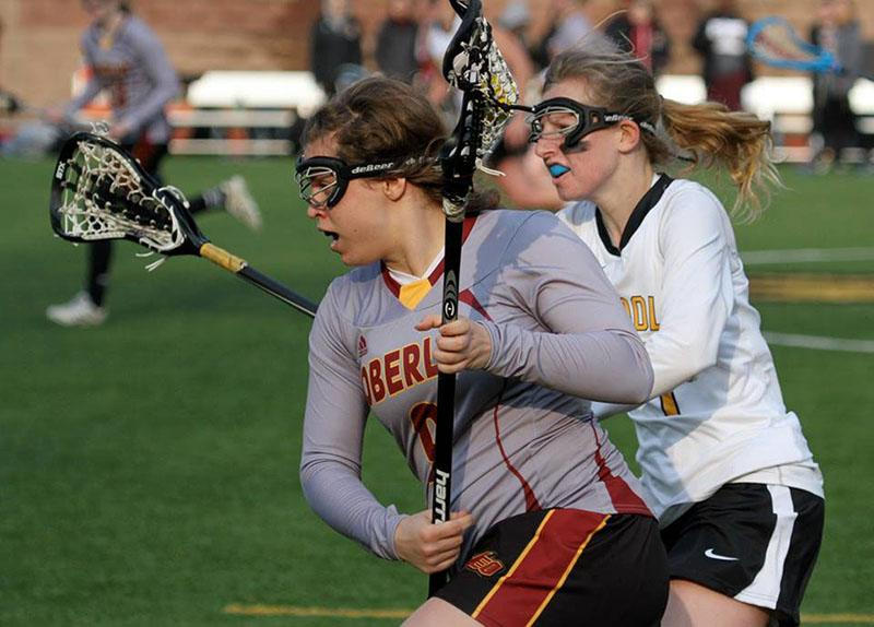 First-year Morgan Daruwala sprints to score against Randolph College. Daruwala helped the Yeowomen to a 15–5 victory with two goals, five ground balls and four caused turnovers.