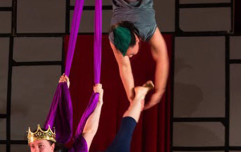 Seniors Karellyn Holston (top) and Sam Karpinski perform an aerial silks act at OCircus!'s show 'King Bidgood's in the Bathtub,' which took place at Philips gym last Friday and Saturday nights. The show attracted a large crowd of students and Oberlin families.