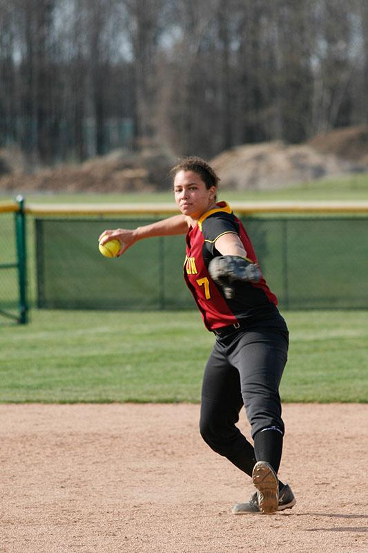 Senior Emily King fires a ball toward first base. King leads the Yeowomen with a .325 batting average and 37 runs score.