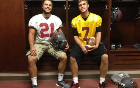 Football players Blake Buckhannon and Lucas Poggiali