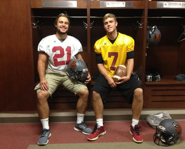 Football players Blake Buckhannon and Lucas Poggiali