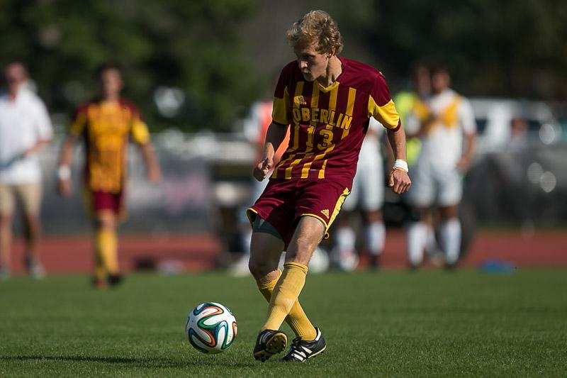 Senior Sam Winward dribbles the ball in a game earlier this season. The Yeomen head into Saturday's match against the Wittenberg University Tigers with a 3–3 record.