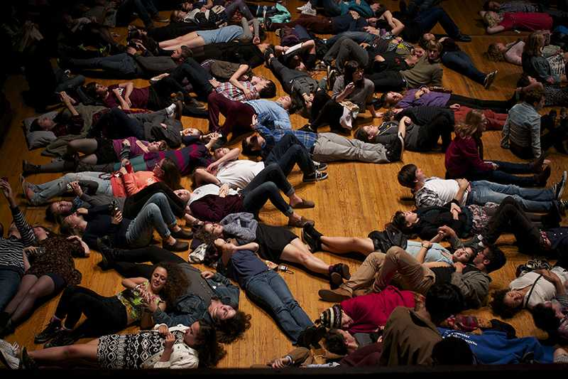Students lie on the stage of Finney Chapel to feel organ vibrations. The first Organ Pump of the semester took place last Friday and graced an unusually large crowd with impressive Organ performances and customary humor.