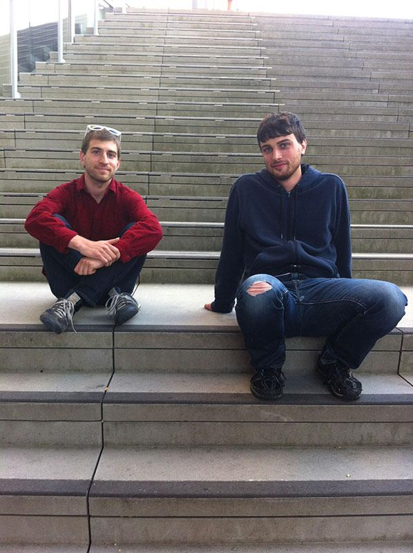 Guitarist Matt Gold, OC '13, and percussionist Nate Friedman, OC '13, chat with the Review outside the Kohl Building. The duo, known as SUN SPEAK, performed on Thursday night.
