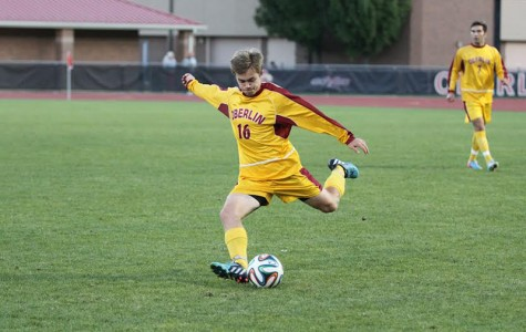 First-year Matthew Bach-Lombardo rears back to kick the ball at a home game this season. The Yeomen are heading into a stretch of seven consecutive conference games with a record of 4–5–1.