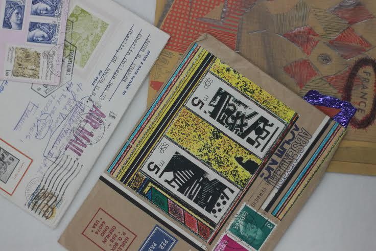 The Clarence Ward Art Library houses a display from the much larger collection of mail art archived at Oberlin. The full compilation was cataloged this summer and is available for public perusal.