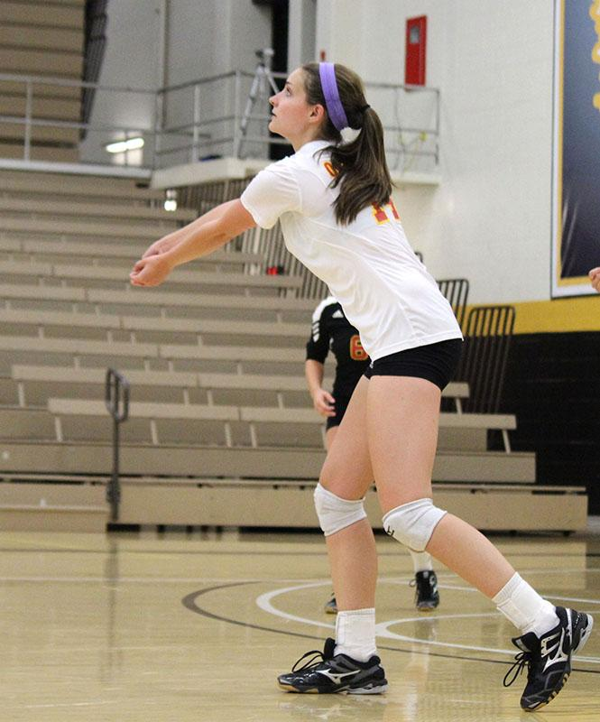 First-year Claudia Scott looks to hit the ball during a match this season. Scott has 128 kills for the Yeowomen.
