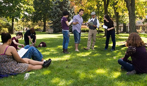A group of actors congregate in a round robin for an informal, spontaneous performance of Shakespeare's A Midsummer Night's Dream. College sophomores Jay Shapiro and Chris Puglisi organized the experimental outdoor reading that took place Saturday.
