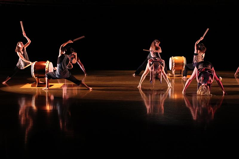 """College senior Jesse Weiner's artful """"Jimi To Nami"""" seamlessly blended traditional taiko music and striking lines. The dancers' technical skill and the musicians' precision were equally compel- ling in Fall Forward's final performance."""