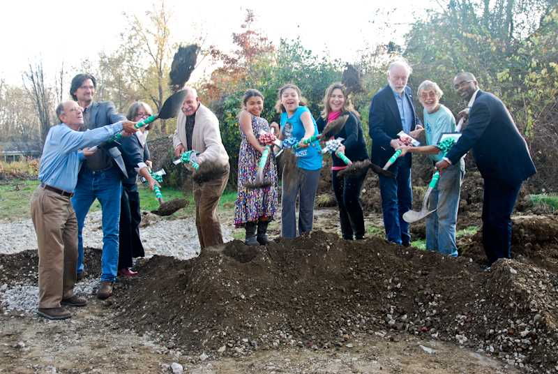 Community+members+shovel+dirt+at+the+groundbreaking+ceremony+for+a+new+sustainable+house.+Zion+Commu-+nity+Development+worked+with+Oberlin+Community+Services%2C+Providing+Oberlin+with+Efficiency+Responsibly+and+the+Oberlin+Project+to+plan+this+sustainable+single-family+home+on+the+south+side+of+Oberlin.