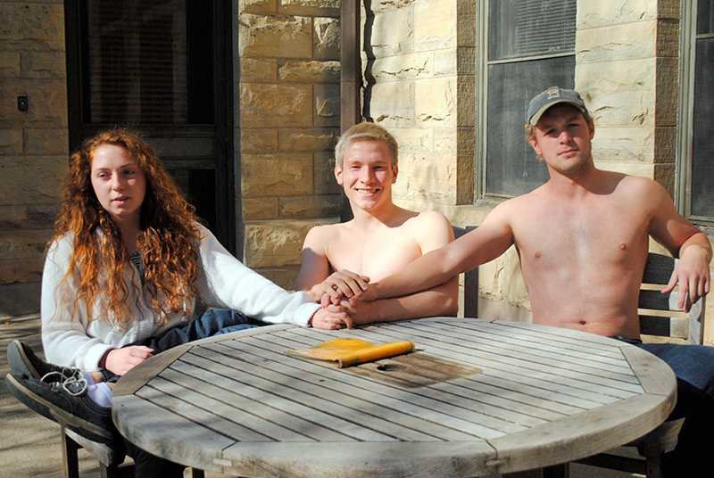First-year Hannah Pieper (left), sophomore Liam Oznowich and senior Jack Redel