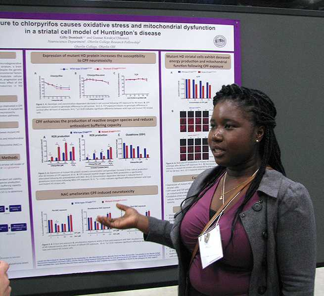 College+senior+Gifty+Dominah+presents+her+poster+at+the+Annual+Biomedi-+cal+Research+Conference+for+Minority+Students+in+San+Antonio.+Dominah+was+among+seven+Oberlin+students+and+two+faculty+members+to+attend+the+conference+last+week.