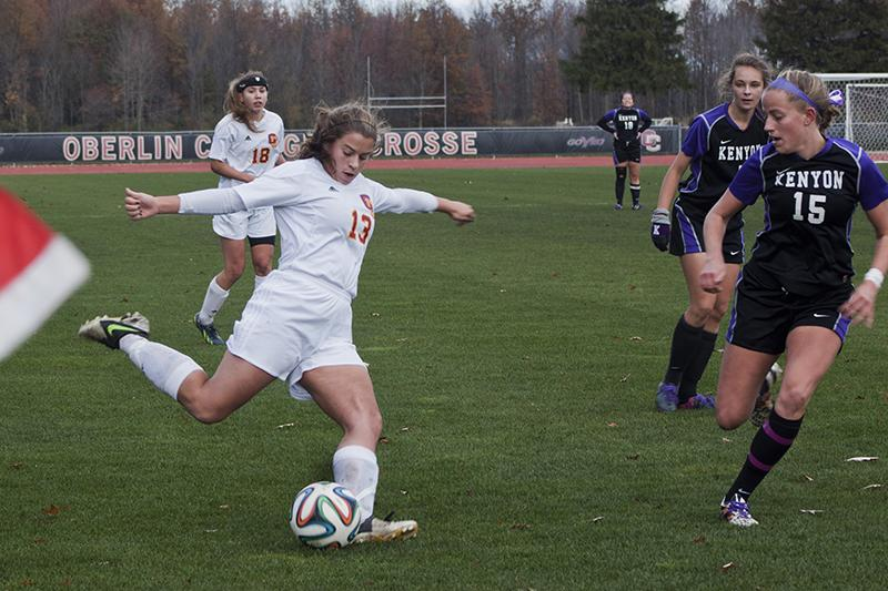 Sophomore Tyler Sloan kicks the ball in the team's finale against the Kenyon College Ladies. The Yeowomen finished their season with a 10–8 record.