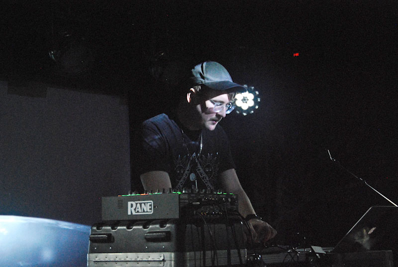 Electronic musical talent Travis Stewart, also known as Machinedrum, uses a soundboard to produce a pulsating tempo. While the South Carolina native appeared excited to perform for Oberlin students Wednesday evening, the 'Sco crowd seemed to be longing instead for a final Splitchers.