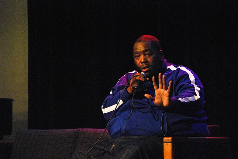Killer Mike, a Grammy Award-winning rapper and half of the hip-hop duo Run the Jewels, speaks to an audience of students at the Cat in the Cream. The question-and-answer session, hosted by The Oberlin Hip-Hop Collective, covered a wide range of topics, from white privilege to Ronald Reagan and friendship. He also discussed the impact his family had on his life and music, the importance of local politics in his home city of Atlanta and how he uses rap to educate as well as entertain. The packed crowd of over 100 students responded positively to Killer Mike, clapping and snapping often. Over the last few years, Killer Mike has gained attention as an activist as well as a musician after being interviewed on CNN and other TV networks about racism, police brutality and Ferguson.