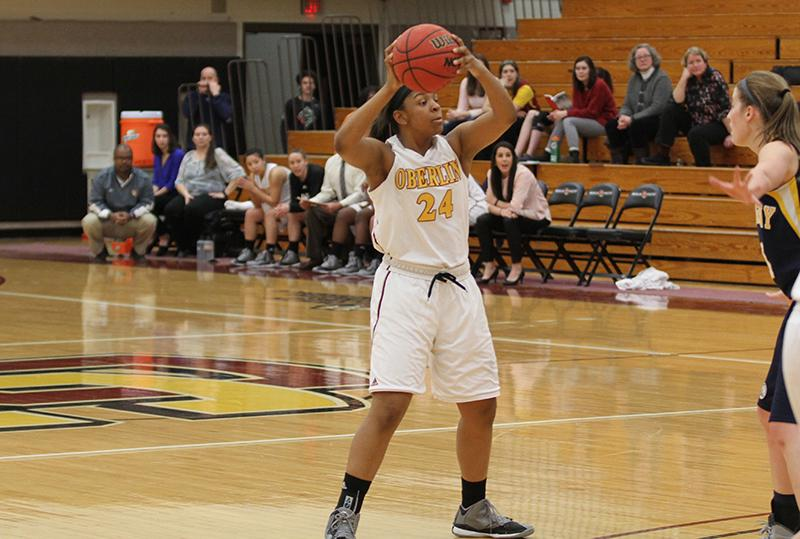 First-year guard Tyler Parlor looks to make a pass against the visiting Allegheny College Gators. Parlor notched her first career double-double with 13 points and 11 rebounds against Hiram College last Saturday. The Yeowomen are currently 10–5 in conference play and 14–10 overall.
