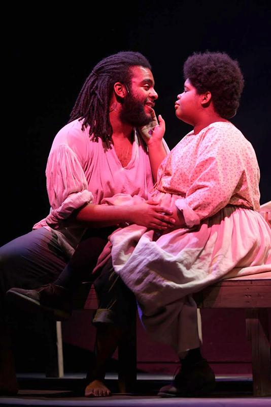 Lead actress Tiffany Ames and fellow cast member Khalid Taylor share an intimate moment. Dessa Rose's run will continue at Hall Auditorium Friday and Saturday night at 7:30 p.m. and Sunday at 2 p.m.