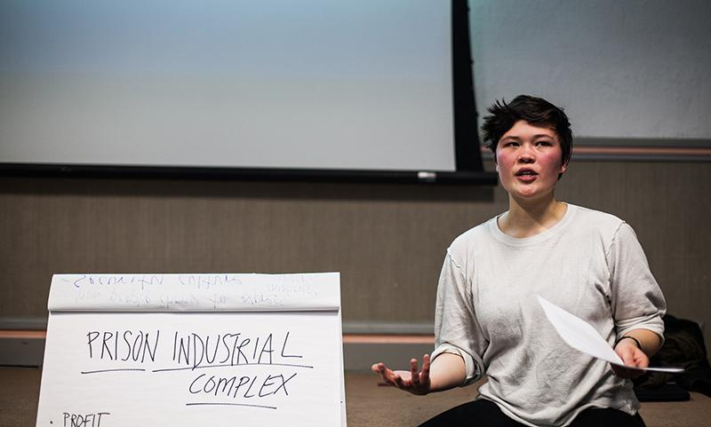 College senior Kaela Sanborn-Hum leads the Prison Justice Workshop on Saturday during the Weekend of Action. Led by the Student Labor Action Coalition, several campus groups collaborated to host the Weekend of Action, a space for workshops and discussions about economic justice.
