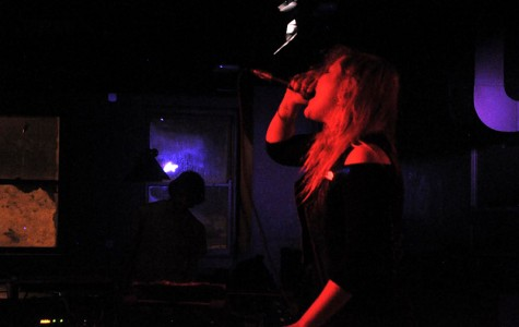 Pharmakon howls at an enchanted audience. She bridged the gap between music and performance art at the 'Sco Tuesday night.