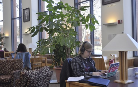 College senior Miranda Rutherford studies in the Science Library. Last semester, Tim Elgren, the dean of the College of Arts and Sciences, asked science faculty if a section of the Science Library could be better used as classroom space.