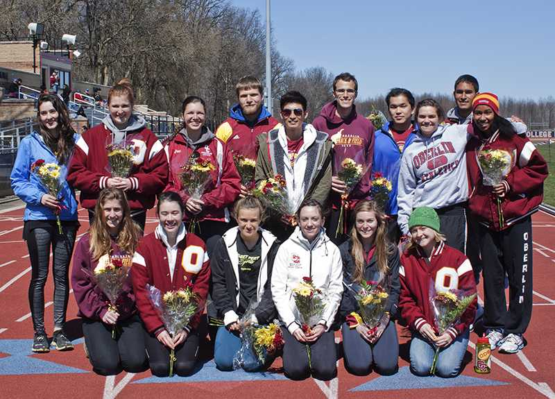 Back Row (left to right): Julia Skrovan, Katie Skayhan, Margaret Miller, Conor Narovec, Jerry Choi, Evan Finch, Jeffery Kawahara, Nora Ryan, Miles Gueno and Ashley Parish. Front Row (left to right): Erica Morelli, Carey Lyons, Rose Stoloff (Editor-in- Chief), Emma Lehmann, Nuria Alishio-Caballero and Sarah Jane Kerwin.   The senior members of the men's and women's track and field teams pose with flowers after being honored on Saturday, April 4 as part of the Bob Kahn Invitational. The women's team finished second out of seven teams while the men's team finished third out of six. The teams head to Delaware, PA, this Saturday to compete in the All-Ohio Championships.
