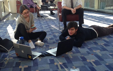 Members of the Oberlin College Democrats, College junior Nora Brickner, College first-year Eli Hovland and College sophomore Jack Benson work on a resolution opposing a provision in an Ohio bill over spring break during a J Street U conference in Washington, D.C. The provision, which opponents claimed would make it more difficult for out-of-state students to vote, was line-item vetoed by Governor John Kasich on Wednesday.