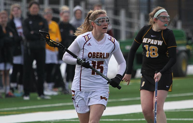 Senior captain and midfielder Kate Hanick sprints down the field during a home game against the DePauw University Tigers on March 21. The Yeowomen have won six games in a row and are 8–1 on the season.