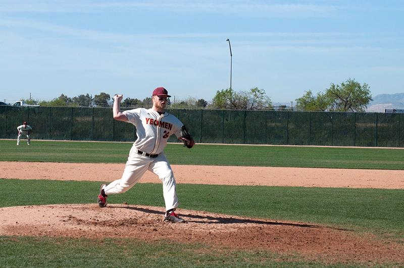 Senior pitcher Benjamin Whitener winds up for a pitch in a game against Williams College last Monday, March 23 at the Tucson Invitational in Tucson, AZ. The Yeomen defeated Williams 11–3 and went 6–8 over spring break.