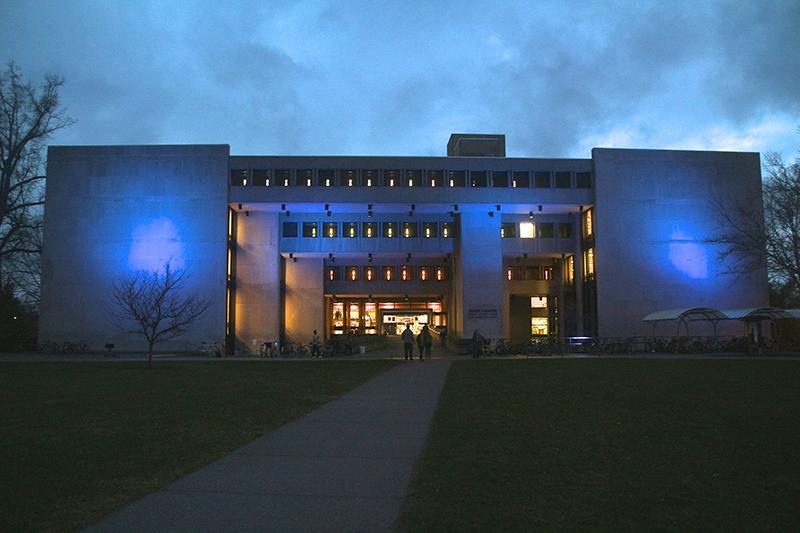 Blue floodlights light up Mudd library to raise awareness for autism. Several students and the Office of Disability Services collaborated on the project. A panel on autism and a series of film screenings will take place in the coming weeks.
